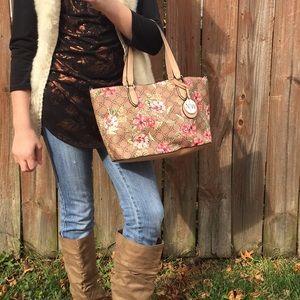 Mocha and Floral Handbag/ crossbody.